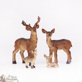 Cerf - Biche - faon - figurines - Set 4 pc