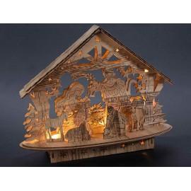 Crèche en bois naturel lumineuse - LED