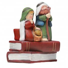Crèche de Noël en terre cuite - bougeoir Tee light