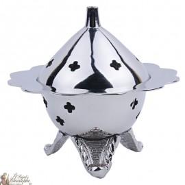 Encensoir en métal argenté de forme florale