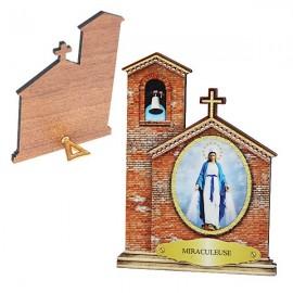 Cadre à poser de la Vierge Miraculeuse en forme d'Eglise