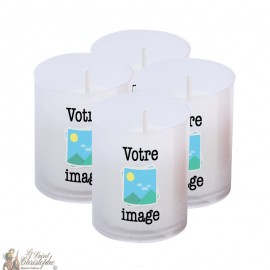 Bougies Veilleuses blanches personnalisables - 4 pièces